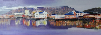 """V & A Waterfront"" by Doug Phillips, Oil on Canvas, 600x1600mm, R3600"