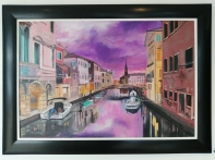 """Venice in Purple"" by Doug Phillips, Oil on Canvas, 1070x770mm, R3600"