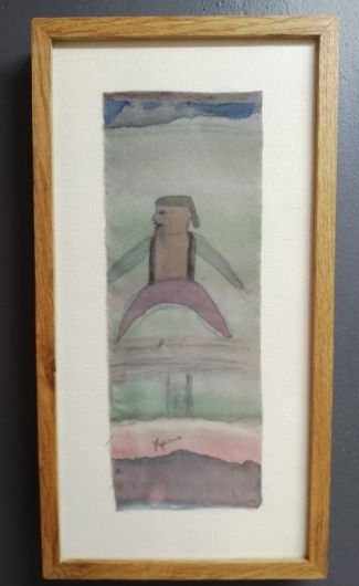 """The Swallow"" by Xenia Hulme, colour on Silk, 260x500mm, Framed in French oak, oiled in pro-nature oil. R1440"