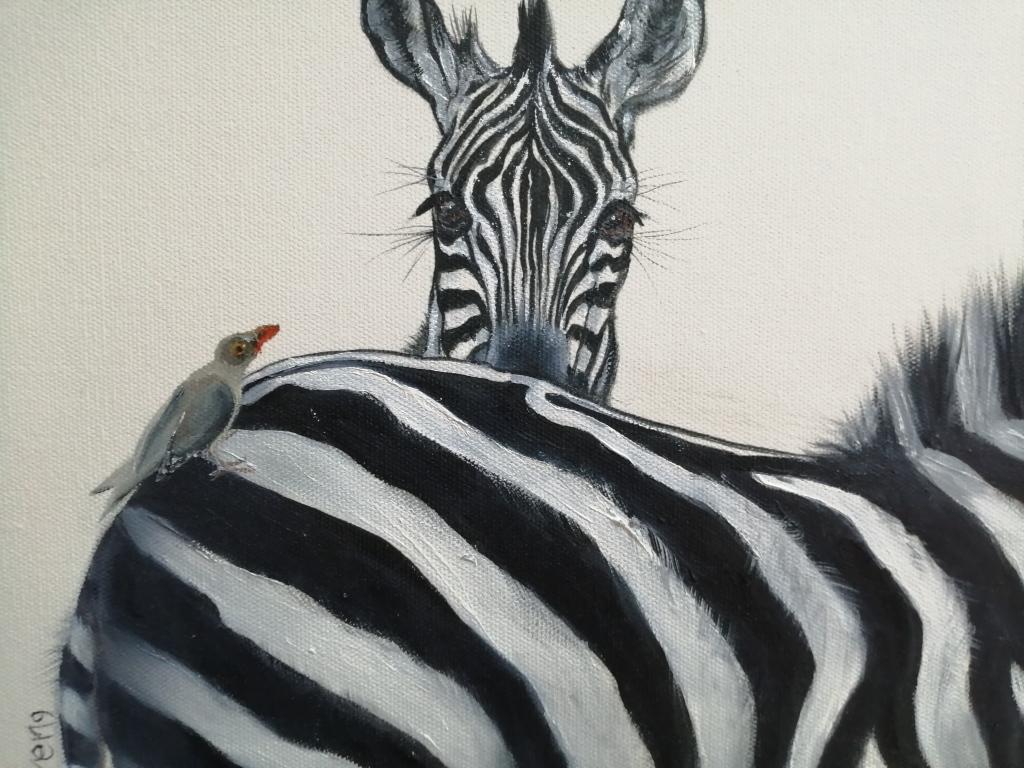 """""""Birdie makes 3"""" by Karen Litson, Oil on canvas, 300x300mm, R1190.00"""
