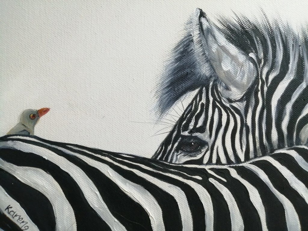 """""""Caught behind"""" by Karen Litson, Oil on canvas, 300x300mm, R1190.00"""