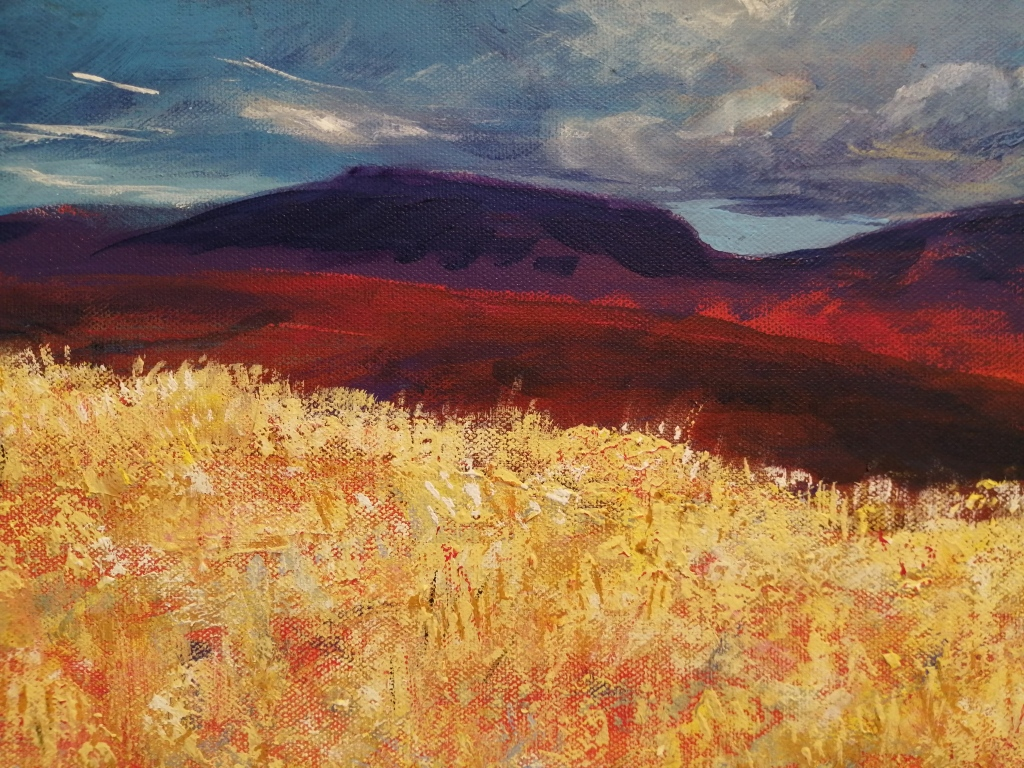 """""""High on a lonely Hilltop"""" by Katharine Ambrose, Acrylic on canvas, 1020x300mm, R1330"""