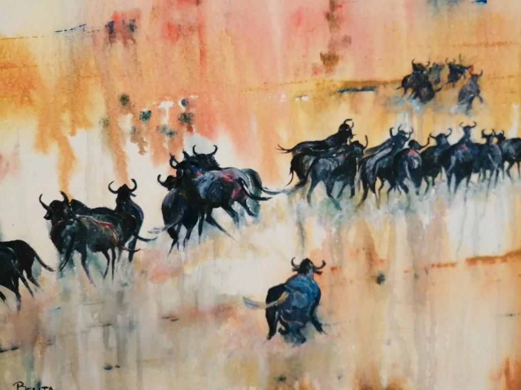 """""""Running wild"""" by Belita Burger, Oil on canvas, 500x700mm, R1200.00"""