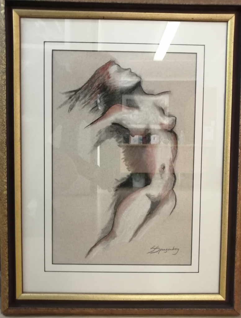 """""""Nude Dancer"""" by Sanet Cornelius, Soft pastel on paper, framed, 680x440mm, R1330"""