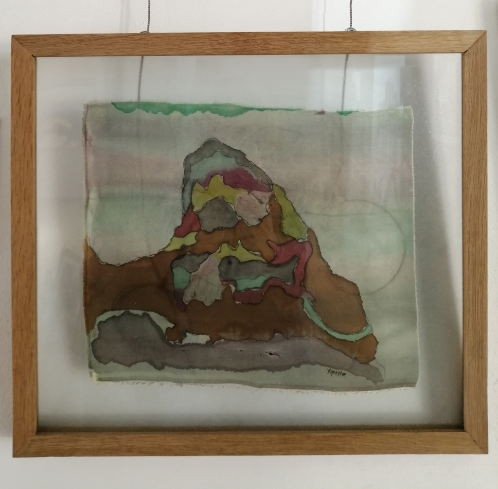 """""""The Self"""" by Xenia Hulme, Colour on Silk, 410x465mm, Framed in French Oak, R1330.00"""