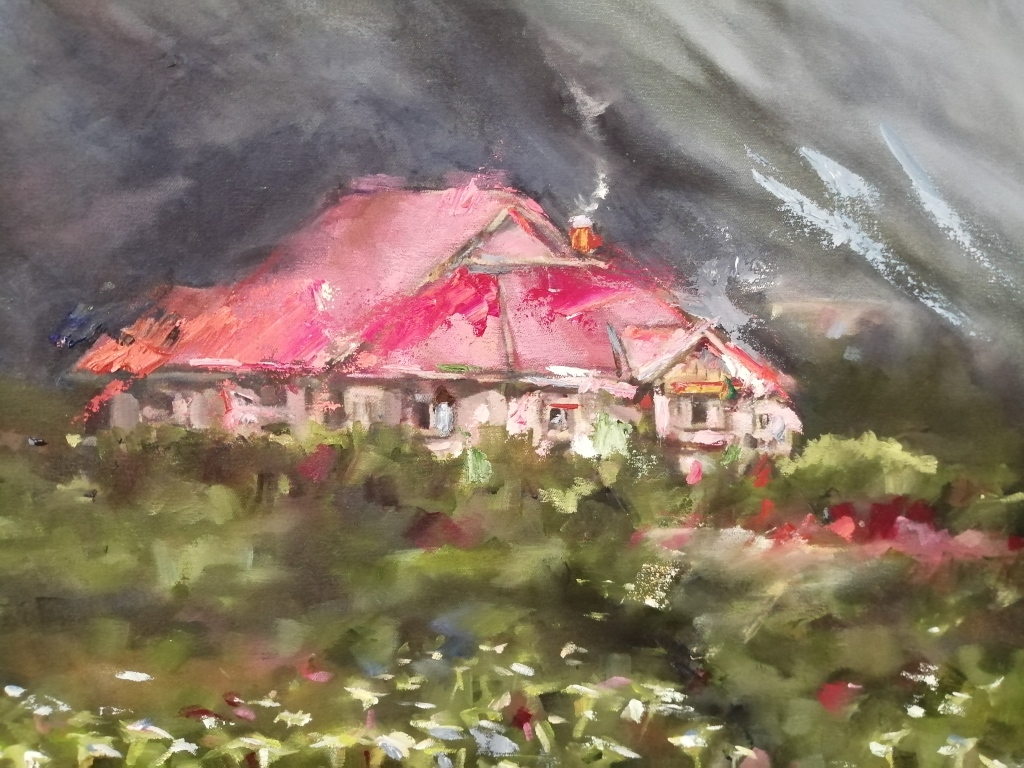 """""""The House in the field"""" by Melinda Brummer, oil on canvas, R2130"""