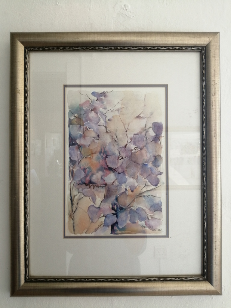 """""""Washes in purple"""" by Marilyn Norton, Watercolour, 360x430mm, framed, R700.00"""