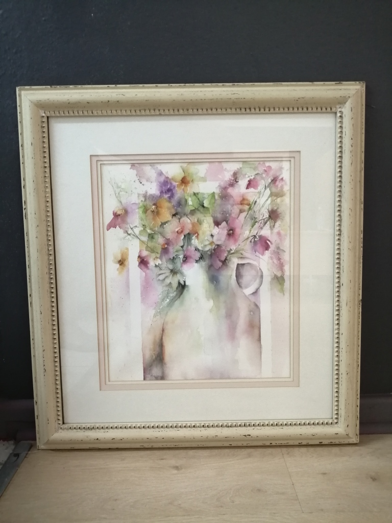 """""""Vase with Flowers"""" by Marilyn Norton, Watercolour, 560x600mm, framed, R1300.00"""