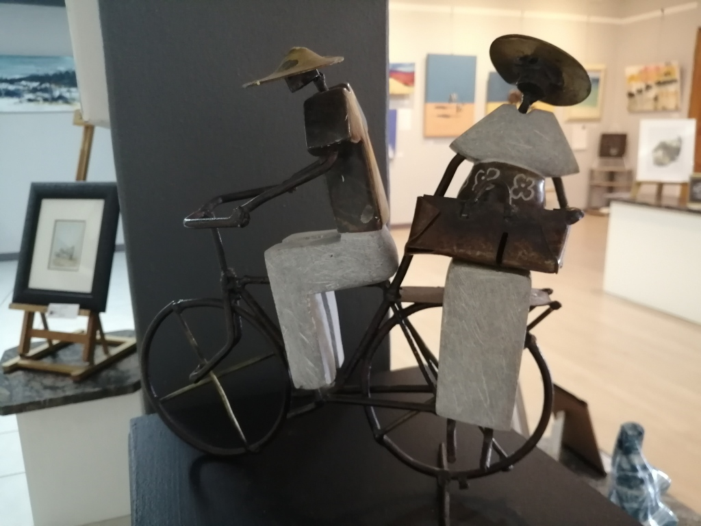 """""""Large Bike"""" by Maxwell Magumise, wire and stone sculpture, R800.00"""