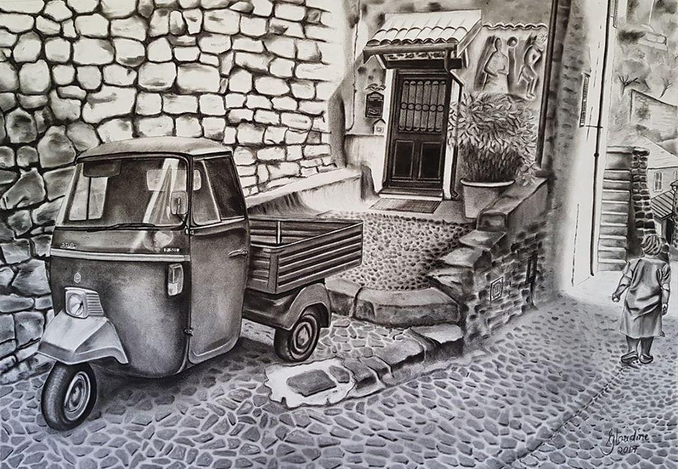 """La Bella Vita"" by Gloudine Kriel, Charcoal on Fabriano paper. 1160x880mm, framed, R19 500.00"
